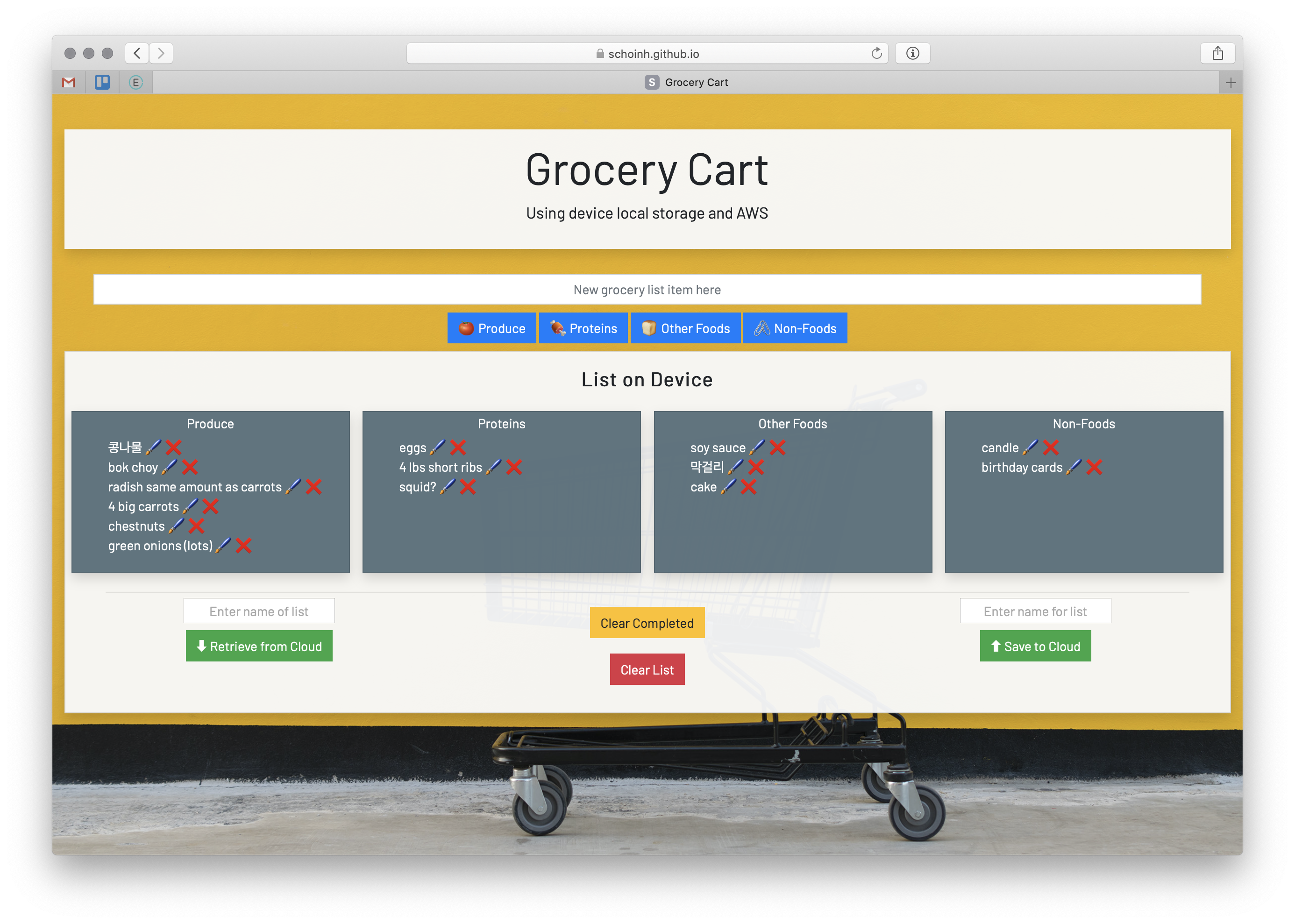 screenshot of Grocery Cart